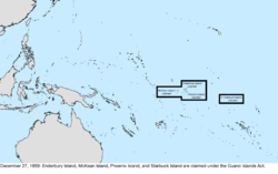 Map of the change to the United States in the Pacific Ocean on December 27, 1859