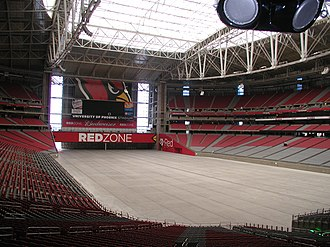 State Farm Stadium - The interior of State Farm Stadium with field removed. To protect the stadium's grass playing surface, non-sporting events are always held with the facility in this configuration.