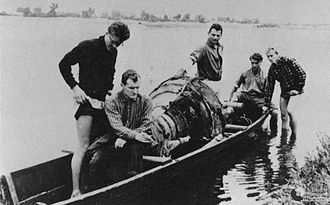 Polish resistance movement in World War II - AK members recovering V-2 from the Bug River.
