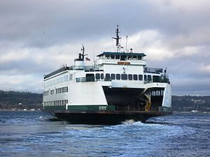 MV Kitsap - Leaving Mukilteo while filling in for the MV ''Tokitae''.