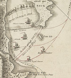 The American ships are shown lined up between the western shore and Valcour Island. Near the southern tip of the island lies Royal Savage, which has run aground. Carleton is nearby, and twenty British gunboats are lined up from there to the shore, facing the American line. Further south are the British ships Inflexible, Maria, and Thunderer. Lines indicate the path taken by the Americans when they escape the night after the battle, hugging the western shore, while the British ships are lined up across the opening of the bay.