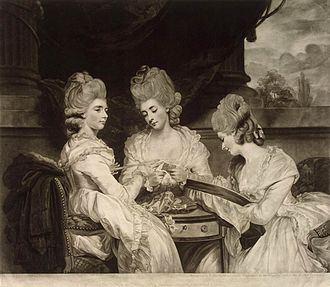 Valentine Green - Portrait of the Ladies Waldegrave, mezzotint after Joshua Reynolds