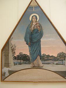 Ikon st. maria magdalena membawa telur paskah merah dengan kata-kata