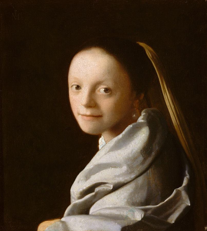 VERMEER VAN DELFT, Jan Portrait of a Young Woman 1666-67