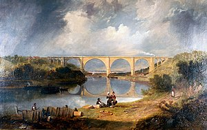 York, Newcastle and Berwick Railway - Oil painting of Victoria Viaduct by John Carmichael