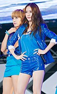 Victoria Song and Krystal Jung at the SMTown Live World Tour III.jpg
