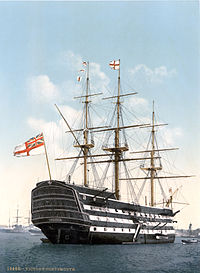 Lord Nelsons flagskib HMS Victory fraSlaget ved Trafalgar.