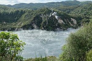 Waimangu Volcanic Rift Valley - Frying Pan Lake and Cathedral Rocks