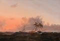 Vilhelm Melbye - Marine med sejlskibe på oprørt hav i aftensol - 1850.png
