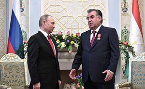 Emomali Rahmon - Russian President Vladimir Putin awarding Rahmon the Order of Alexander Nevsky.