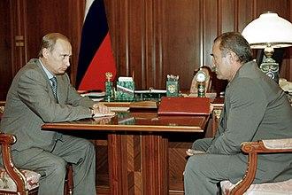 Aslambek Aslakhanov - On right, with Vladimir Putin on left. 2000