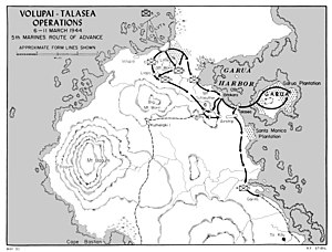 Battle of Talasea - Map depicting the US Marine operation, March 1944