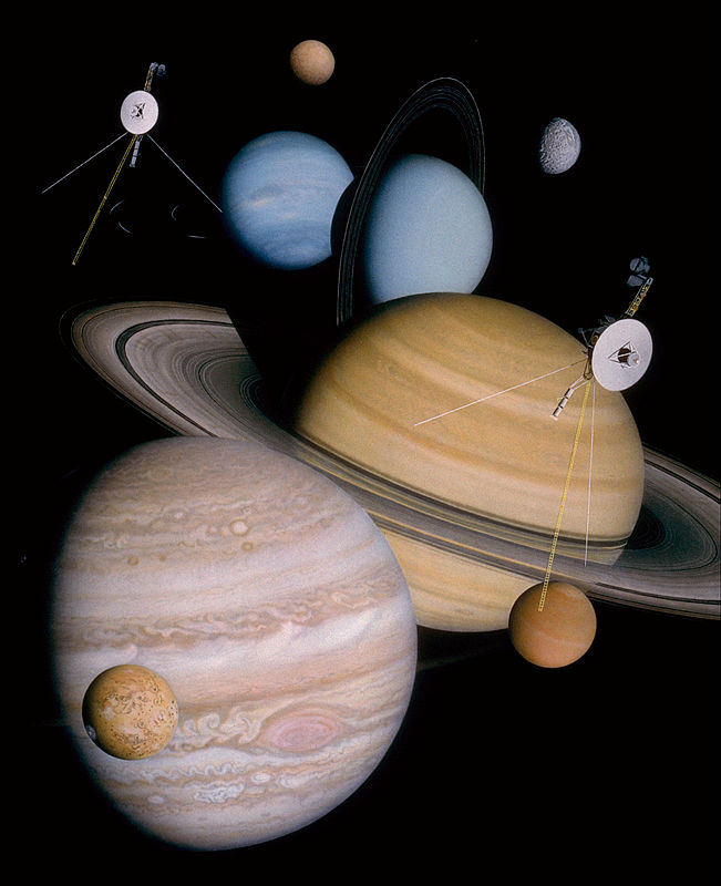 Montage of planets and some moons the two Voyager spacecraft have visited and studied