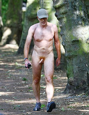 Naked hiking - A naked hiker in London during the World Naked Bike Ride event, 2014