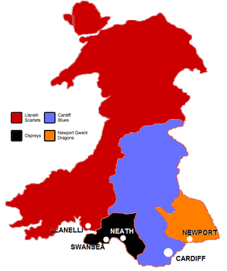 Cardiff Blues - A map showing the Welsh rugby regions.