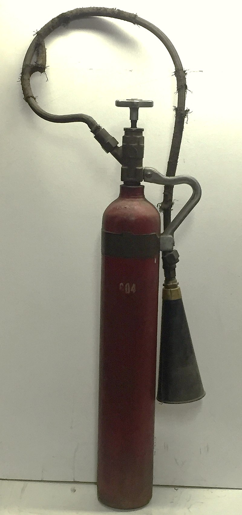 Walter Kidde 7.5lb. CO2 fire extinguisher made for Bell Telephone, 1928.jpg