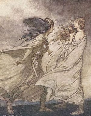 Götterdämmerung - Brünnhilde is visited by her Valkyrie sister Waltraute. By Arthur Rackham (1912)