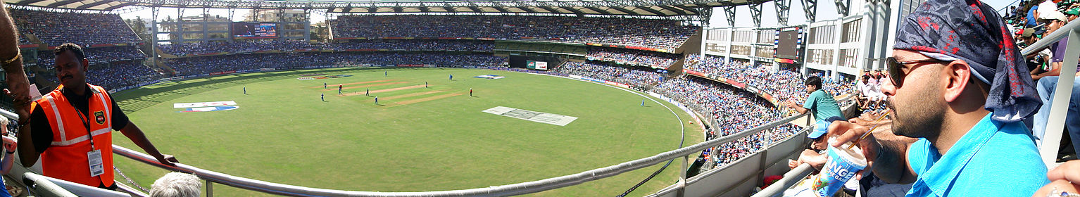 Wankhede Stadium during the first innings of the 2011 Cricket World Cup Final between Sri Lanka and India.