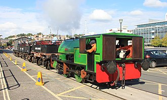 """Bagnall 0-4-0ST """"Alfred"""" and """"Judy"""" - Judy while on loan to the Bristol Harbour Railway in 2015"""