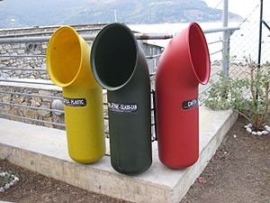 Waste sorting - Characteristic containers for recycling in Portovenere, Italy