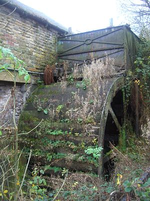 Little Matlock Rolling Mill - The water wheel is in an overgrown state.