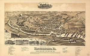 Waynesboro, Virginia - Map of Waynesboro as it appeared in 1891