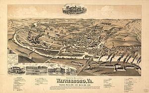 Waynesboro, Virginia - Map of Waynesboro as it appeared in 1891