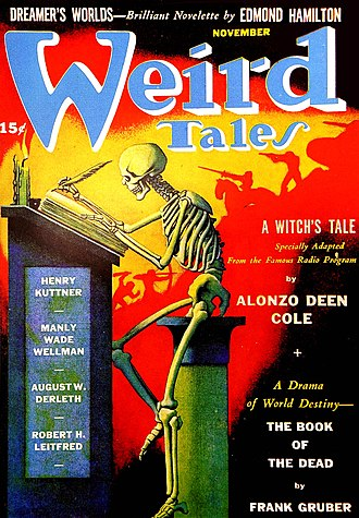 """Frank Gruber - Gruber's """"The Book of the Dead"""" was the cover story in the November 1941 Weird Tales"""