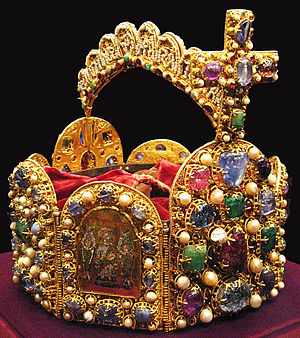 Imperial Crown of the Holy Roman Empire - Front right plate showing Jesus with two angels