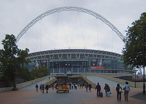 Closeup of the second Wembley Stadium, one day...
