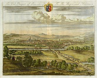 Gloucester - Kip's West prospect of Gloucester, c. 1725, emphasises the causeway and bridges traversing the water meadows of the floodplain.