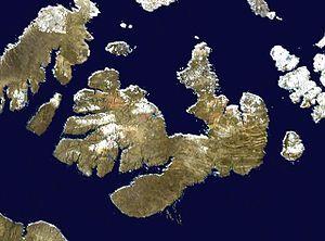 Melville Island (Northwest Territories and Nunavut) - Satellite photo montage of Melville Island