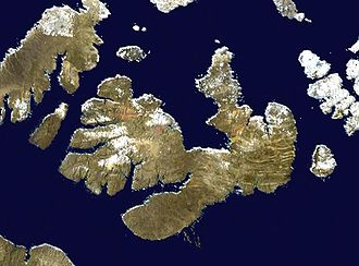Melville Island (Northwest Territories and Nunavut) - Satellite photo montage of Melville Island