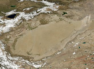 Endorheic basin - NASA photo of the endorheic Tarim Basin