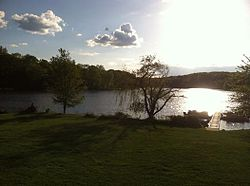 White Meadow Lake at sunset, taken From clubhouse deck