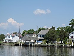 Houses along the Wicomico River in Whitehaven