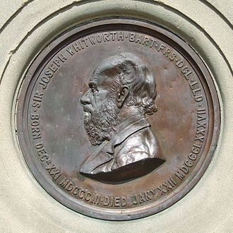 Joseph Whitworth - Plaque from the memorial in Whitworth Park, Darley Dale erected in 1894