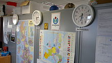 Wikimedia UK Office Clocks, 2013.jpg