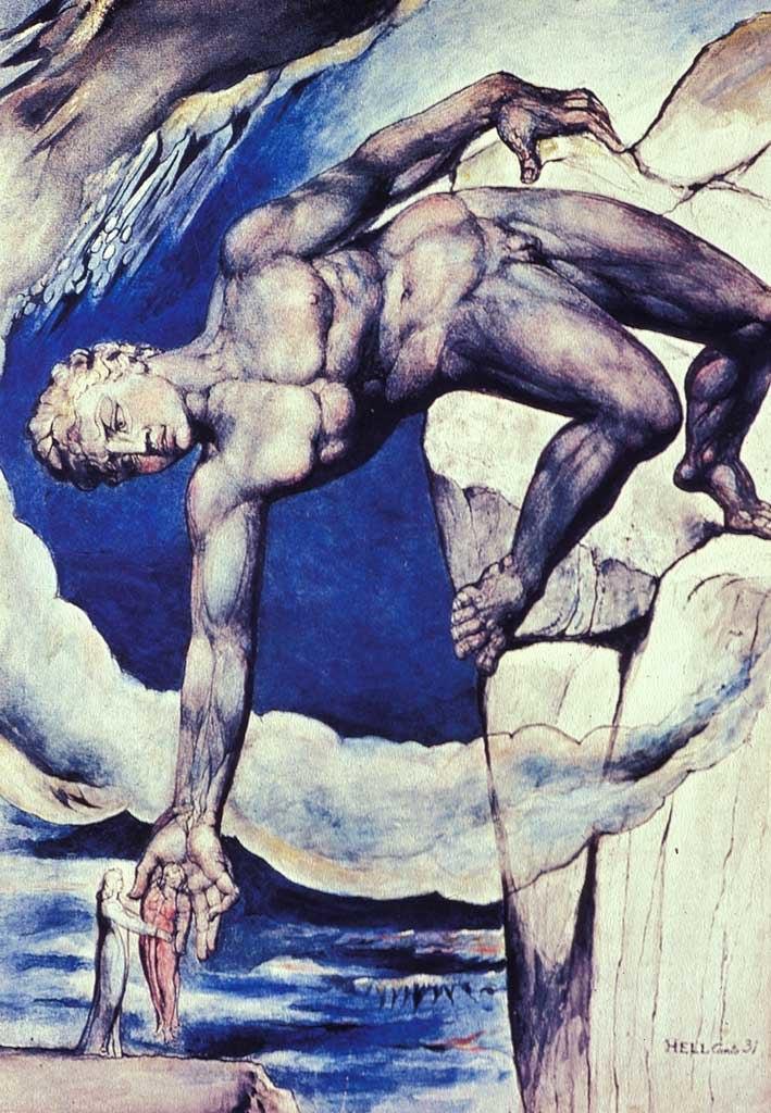 William Blake- Antaeus Setting Down Dante and Vergil-1826