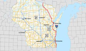 Wisconsin Highway 32 - Image: Wis 32 map