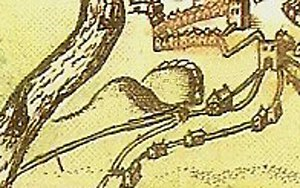 Worcester Castle - John Speed's depiction of the castle motte (l) and bailey (r) in 1610