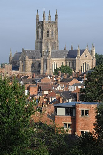 Worcester - Worcester Cathedral from Fort Royal Hill