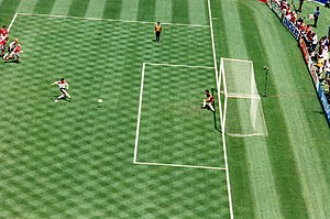 1994 FIFA World Cup - Lothar Matthäus scoring a penalty kick in Germany's quarterfinal against Bulgaria at Giants Stadium on 10 July. Bulgaria came back to win the game.