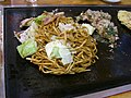 Yakisoba on iron plate by jetalone in Umeda, Osaka.jpg
