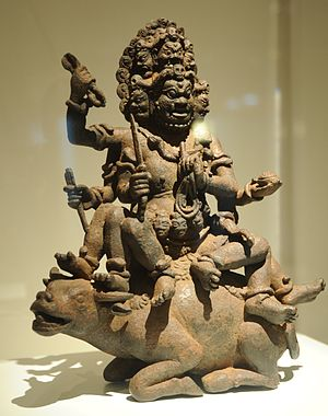 "Yamantaka - Yamantaka is the ""lord of death"" deity in Vajrayana Buddhism, above riding a water buffalo."