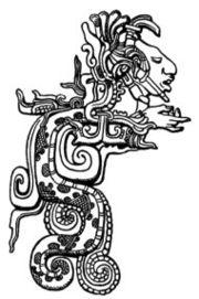 Kukulkán é o nome maia de Quetzalcóatl, aqui desenhado a partir de um baixo-relevo de Yaxchilan.
