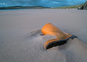 Yellow boot on Tramore Strand - geograph.org.uk - 1424487.jpg