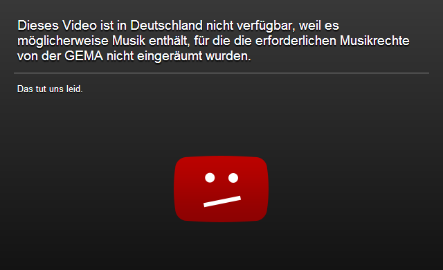 YouTube blocked Germany GEMA de