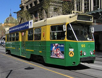 Z-class Melbourne tram - Z1 95 in Metropolitan Transit Authority livery on Swanston Street in September 2006
