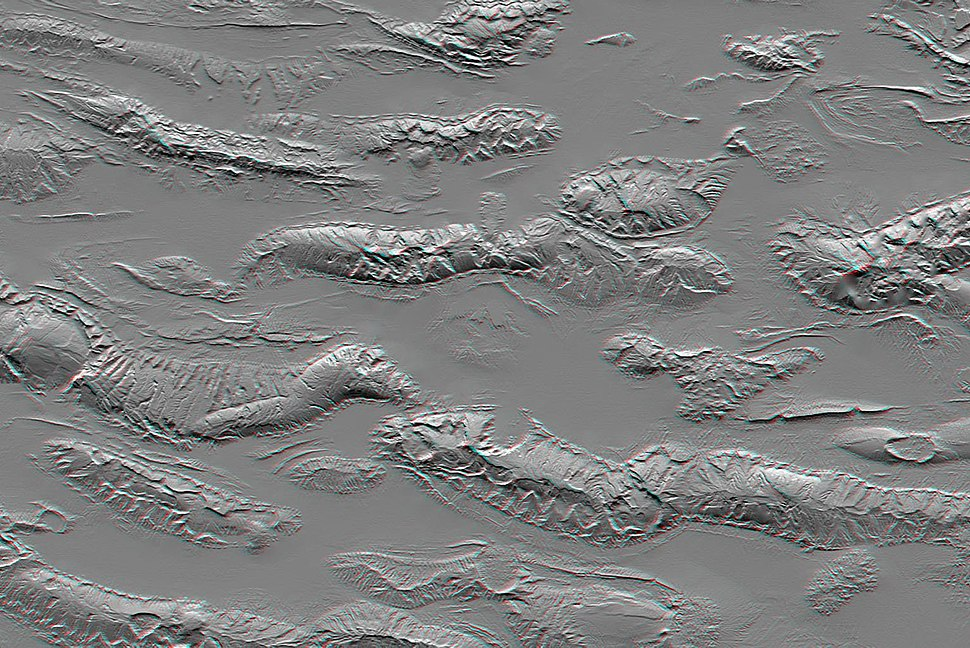 Zagros Mountains, Iran, SRTM Shaded Relief Anaglyph